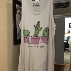 "Jac Vanek ""don't be a prick"" cactus ripped tank"